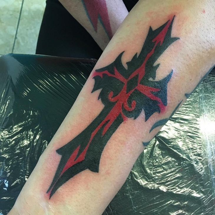 Red and Black Tribal Cross Tattoo