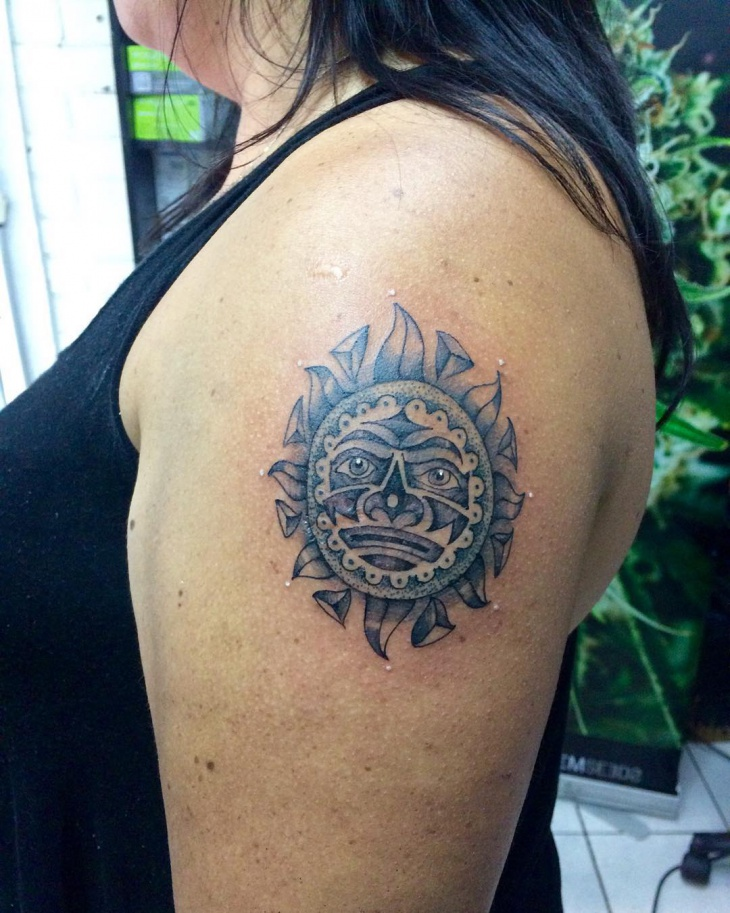 Tribal Aztec Sun Tattoo