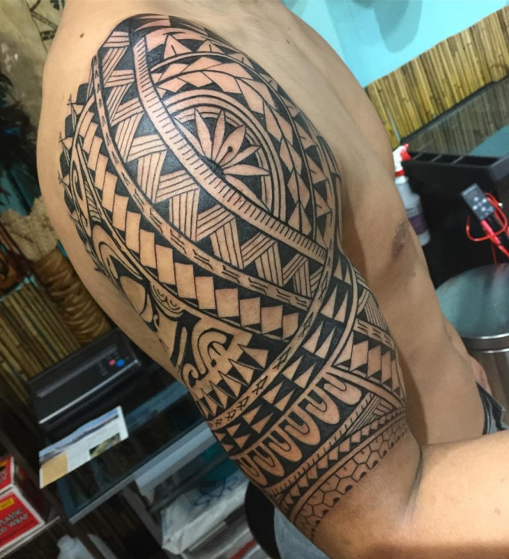 Shoulder Flower Tribal Tattoo