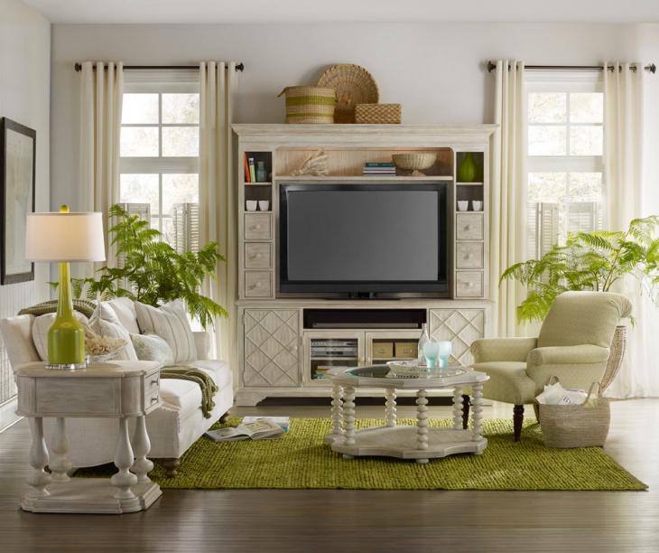 White Living Room Cabinet Design