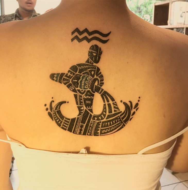 Zodiac Tribal Tattoo for Back