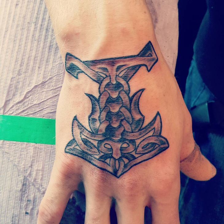 Tribal viking Anchor Tattoo
