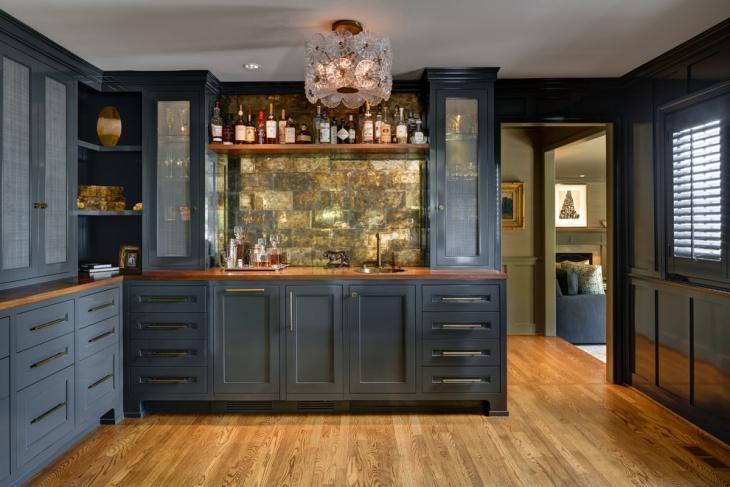 Corner Home Bar Cabinet Design