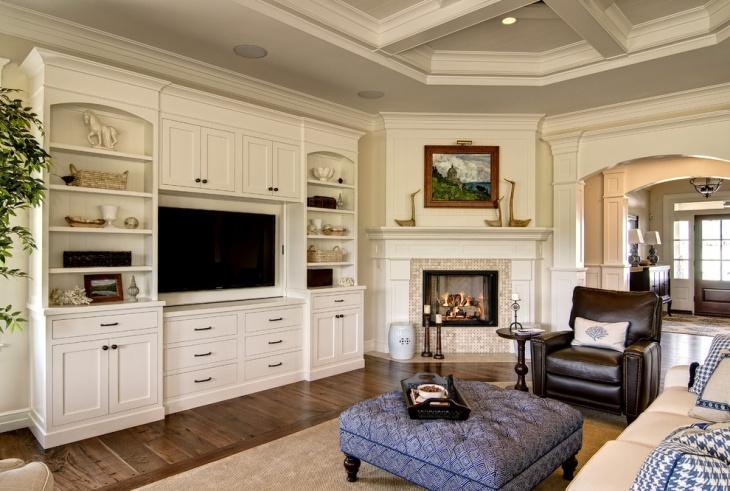 Corner Fireplace Cabinet Design