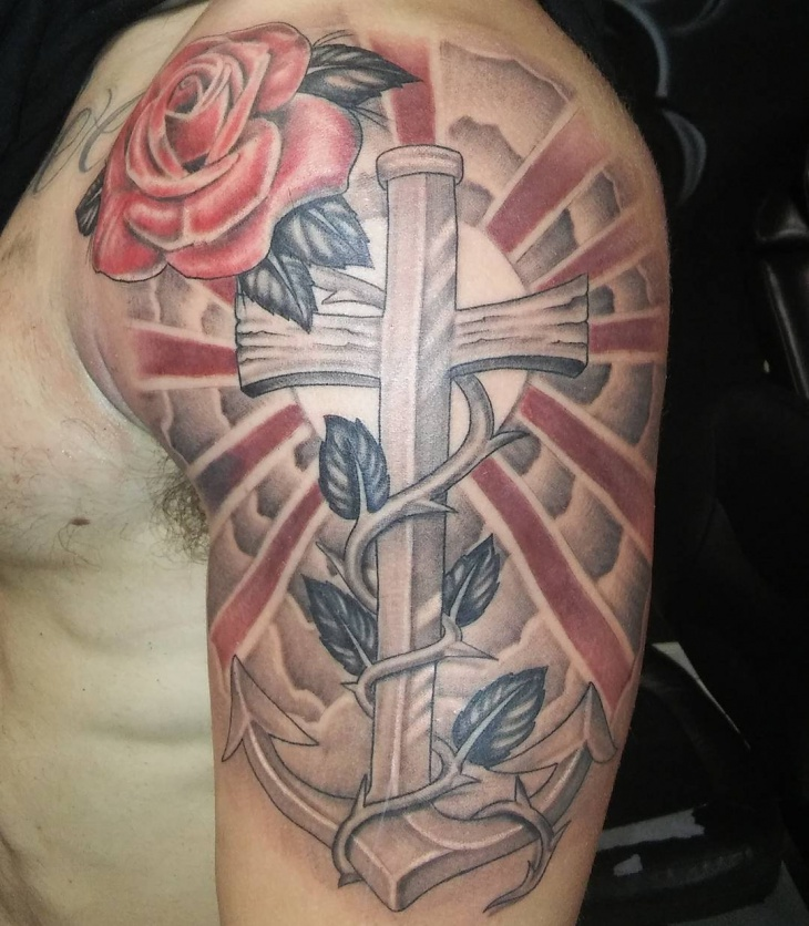 Rose Anchor Cross Tattoo