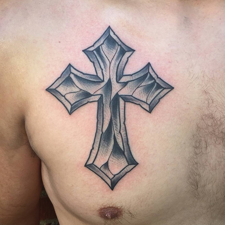 traditional-cross-tattoo-on-chest