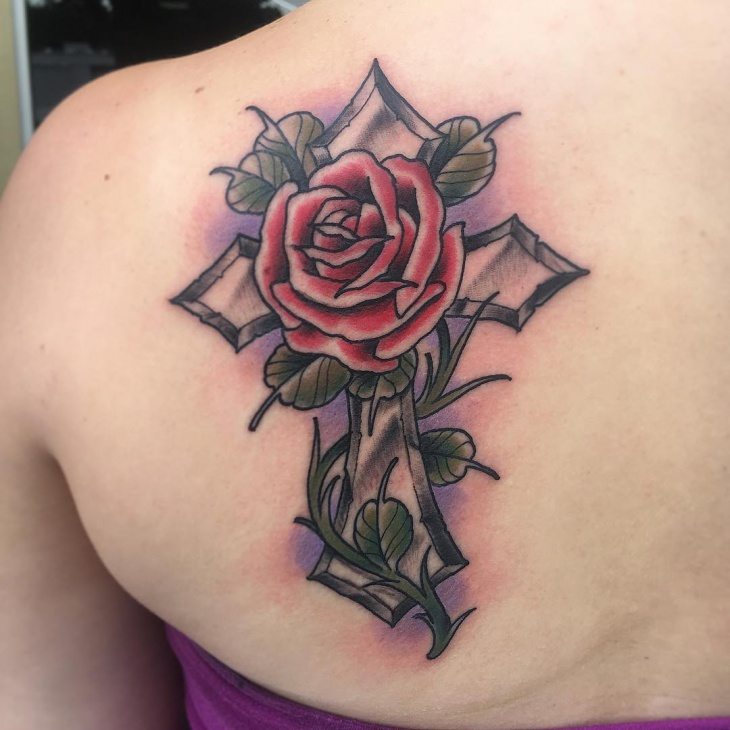 Cross with Rose Tattoos for Women