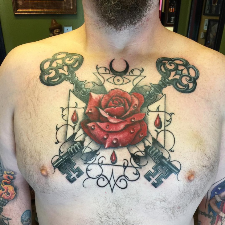 Rose Cross Tattoo on Chest