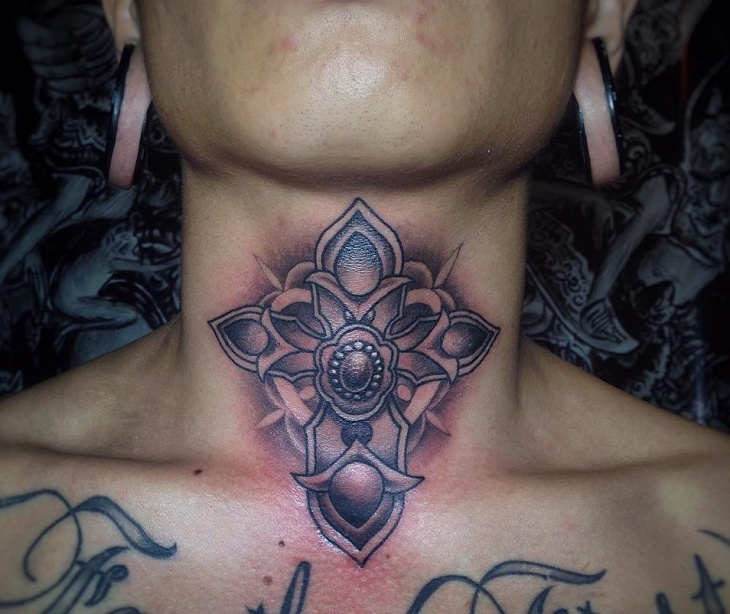Gothic Cross Tattoo on Neck