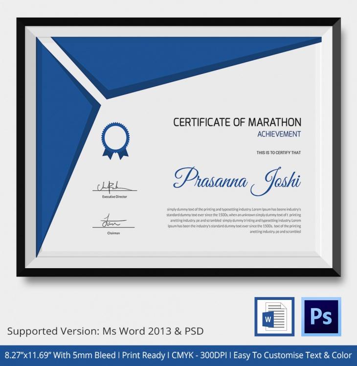 Sample Marathon Certificate