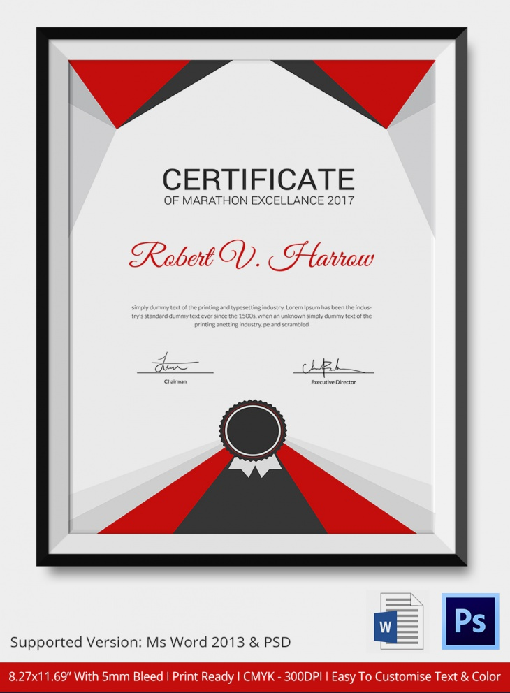 Simple Marathon Certificate