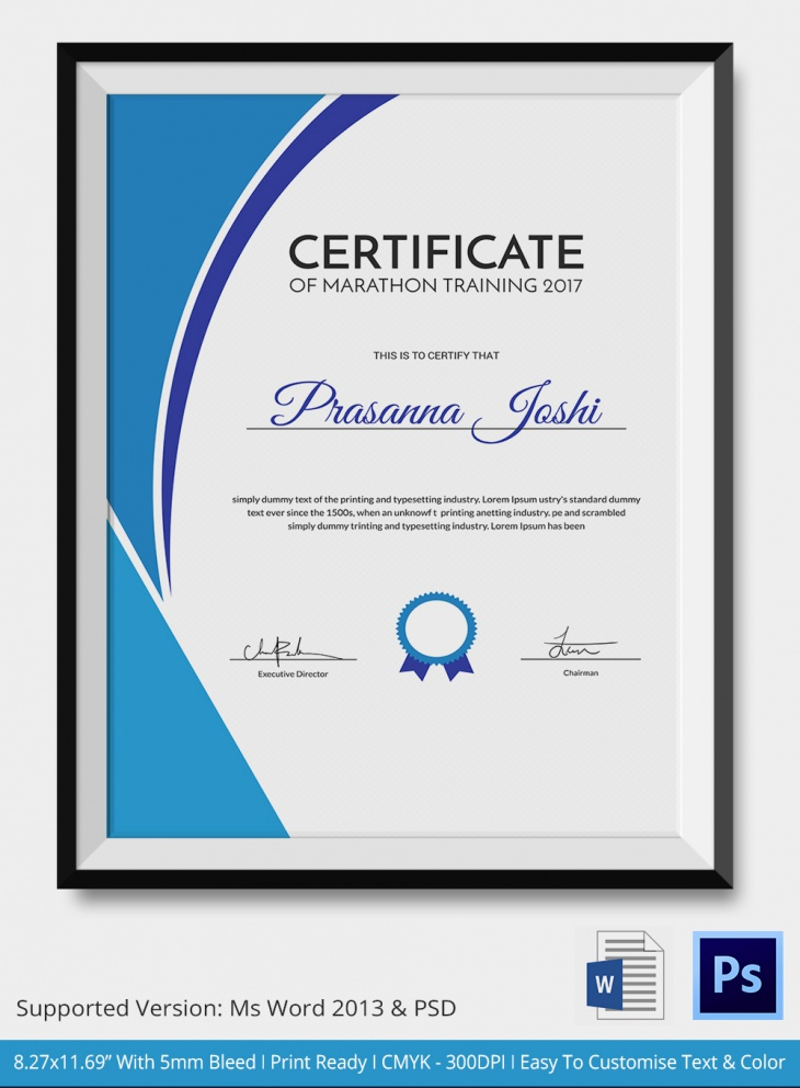 5 marathon certificates psd word designs design for Certificate template word portrait