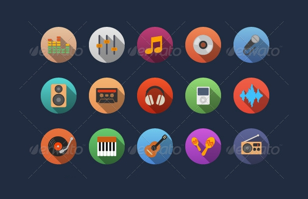 Flat Music Icon Designs