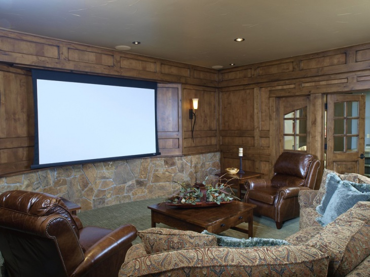 Wooden Rustic Home Theater Design