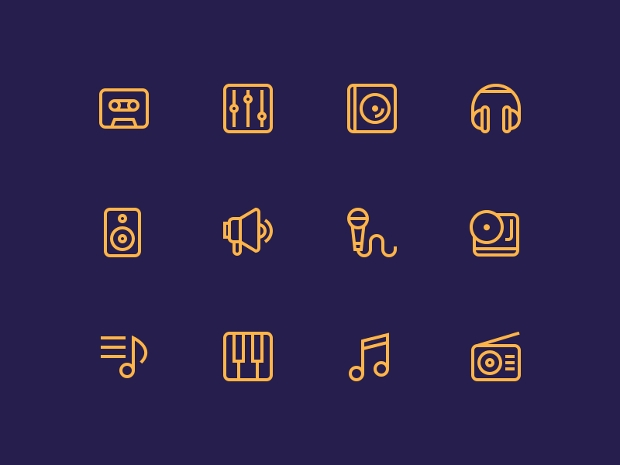 Outline Music Icons