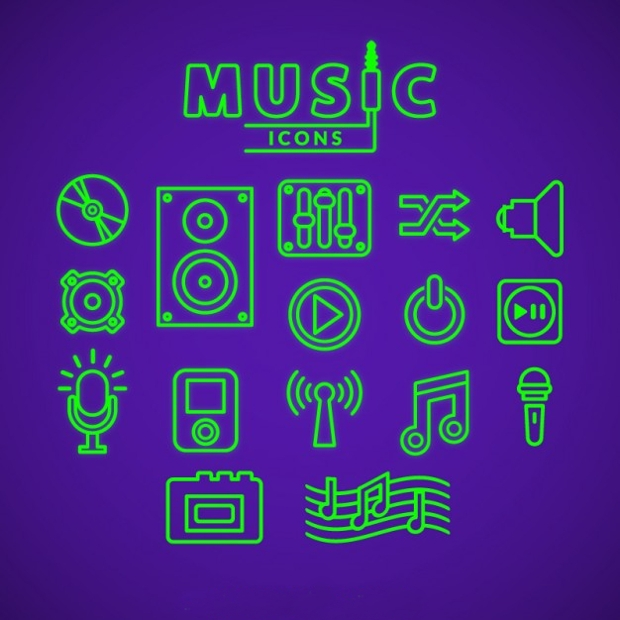 Green Outline Music Icons