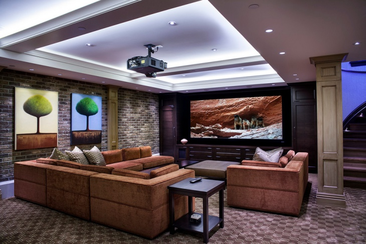 Transitional Home Theater Wall Design