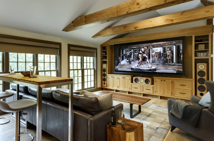 Rustic Garage Home Theater Design