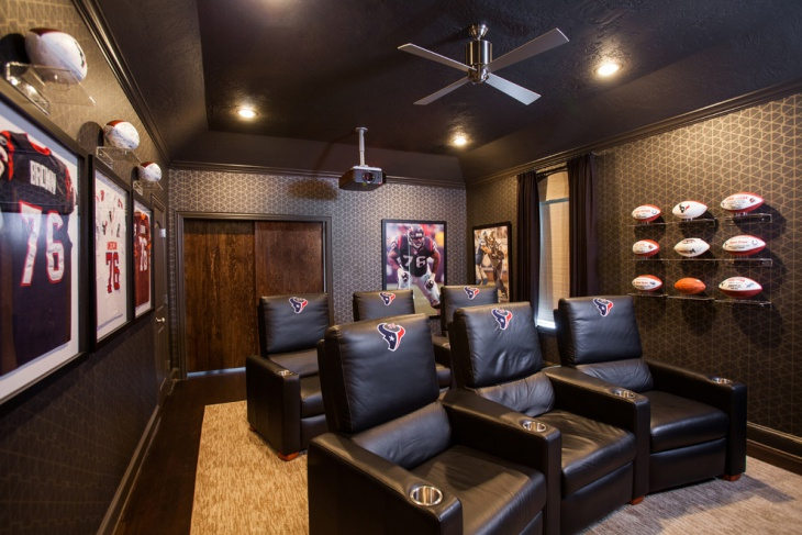 Sports Themed Home Theater Interior