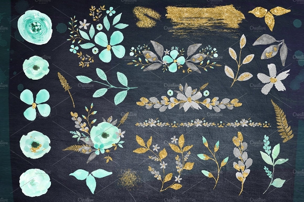 Mint and Gold Flower Clipart