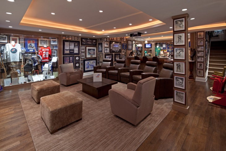 Sports Themed Basement Home Theater