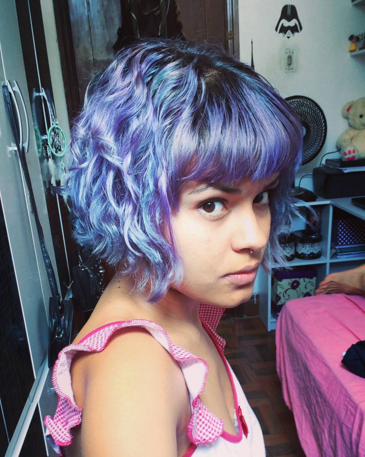 Lilac Short Bangs Haircut