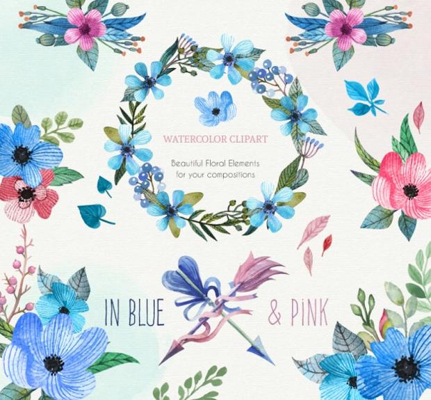 blue floral clipart1