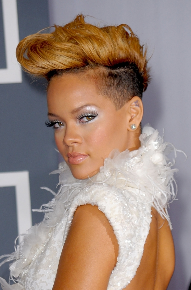 Rihanna Short Mohawk Hair with Weave