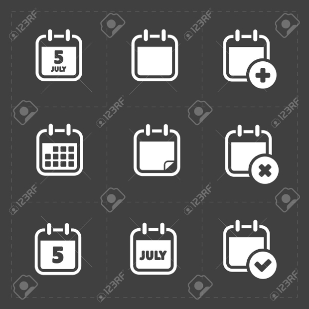black and white calendar icons