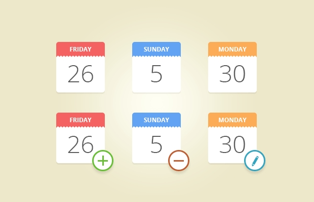 Flat Candy Calendar Icons