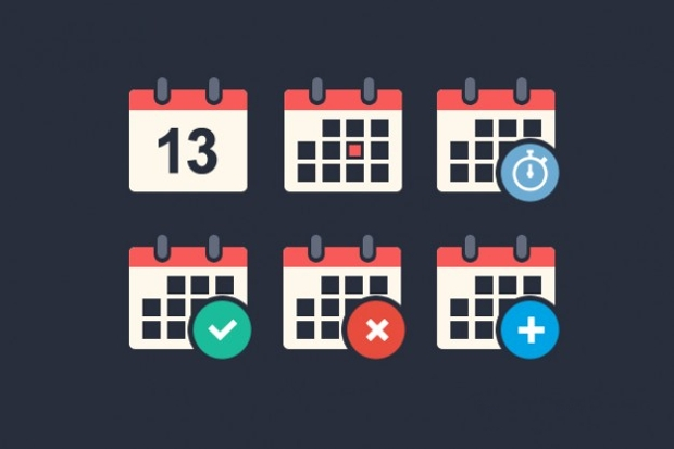 Flat Calendar PSD Icons