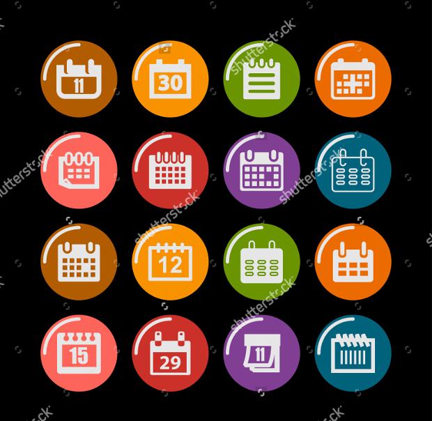 Round Calendar Icons