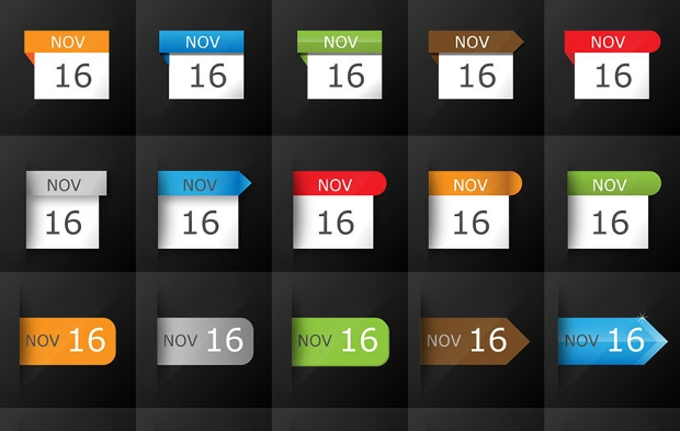 colored date calendar icons