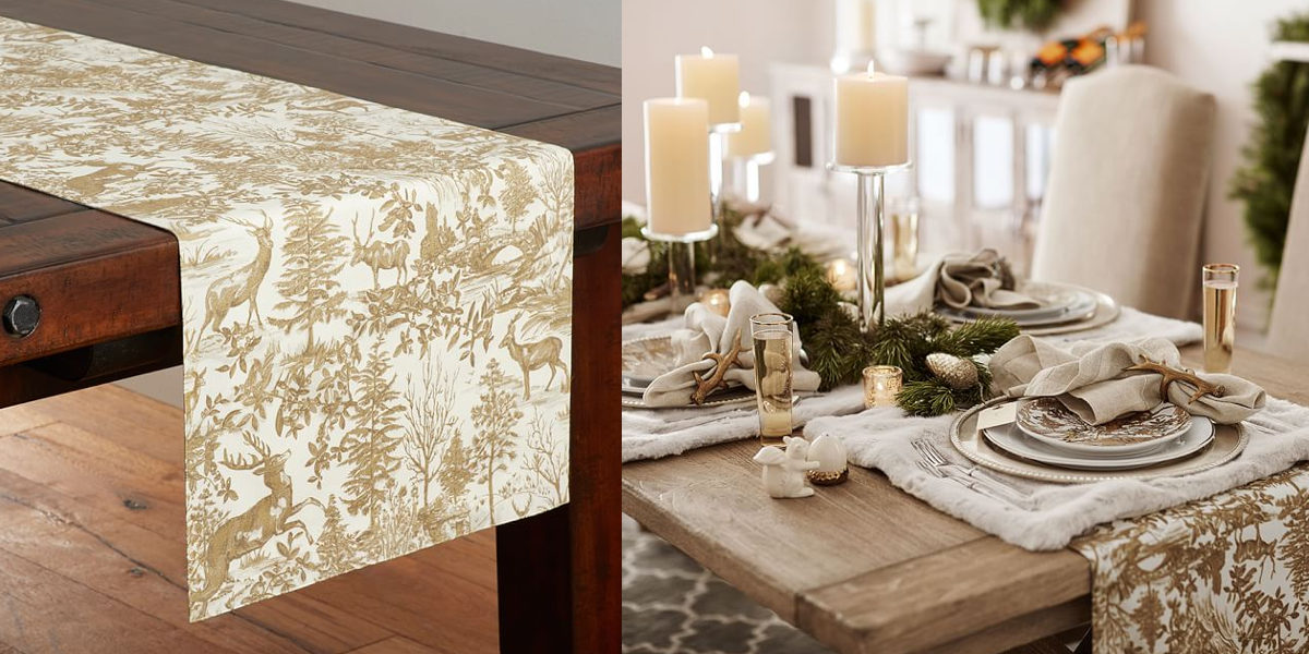 Alpine Toile Table Runner Gold