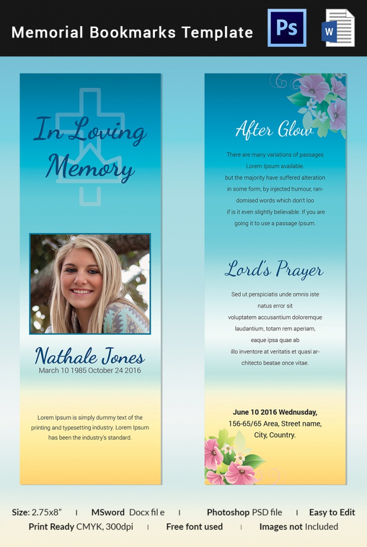Simple Memorial Bookmark Template