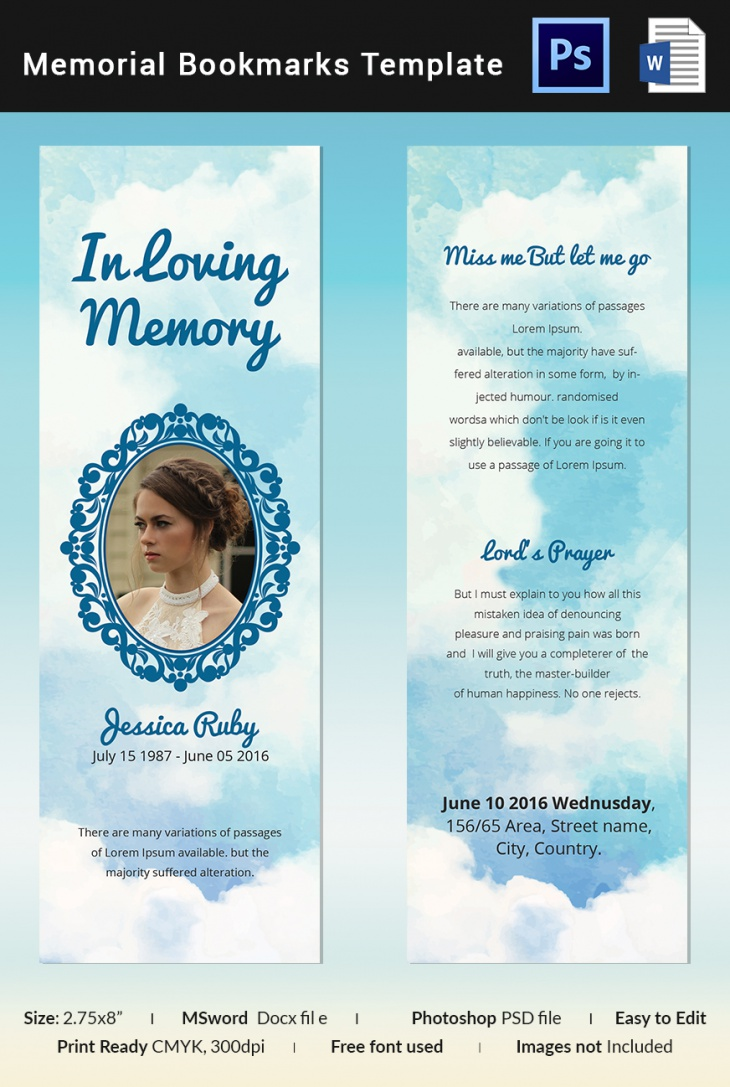 Blue Memorial Bookmark Template