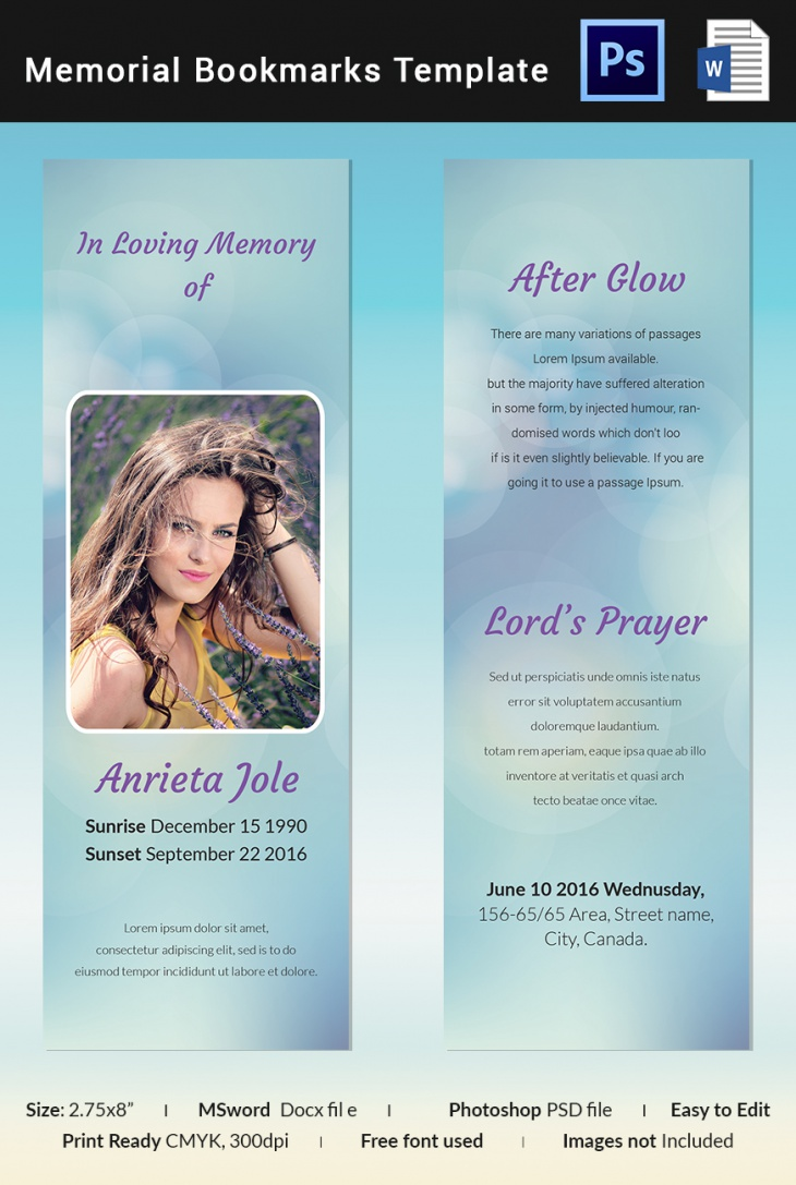 Sample Memorial Bookmark Template