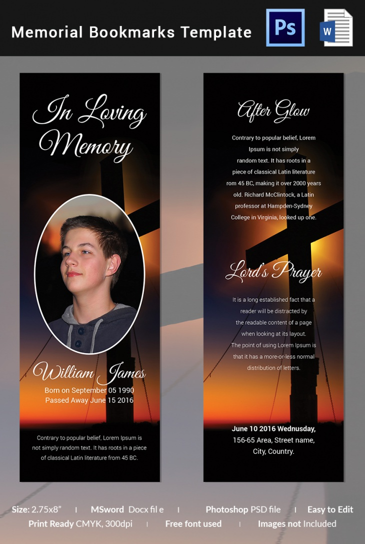 5 memorial bookmark templates free word pdf psd for Free memorial bookmark template download