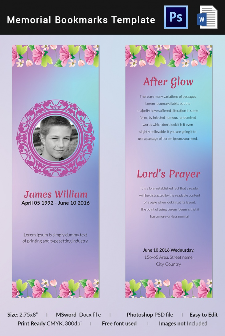 Floral Memorial Bookmark Template