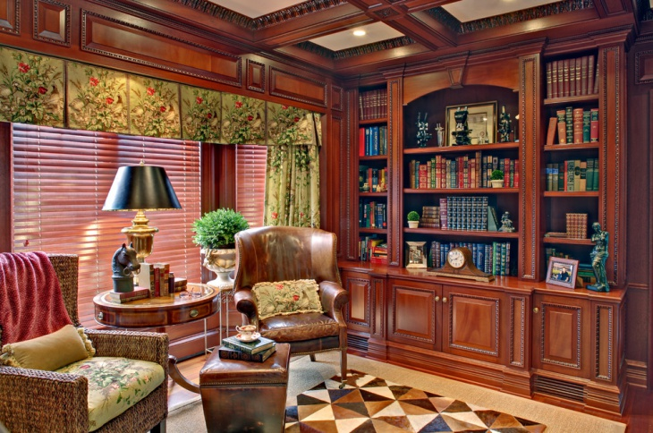 traditional small library design