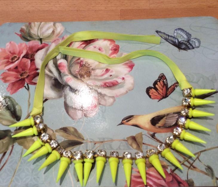 yellow spike choker necklace