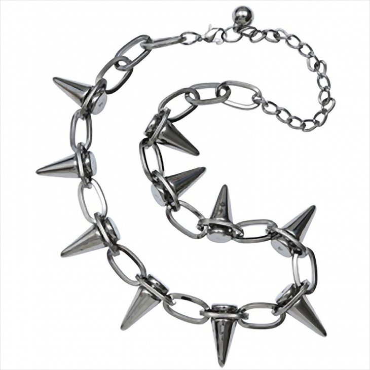 spiked silver choker necklace