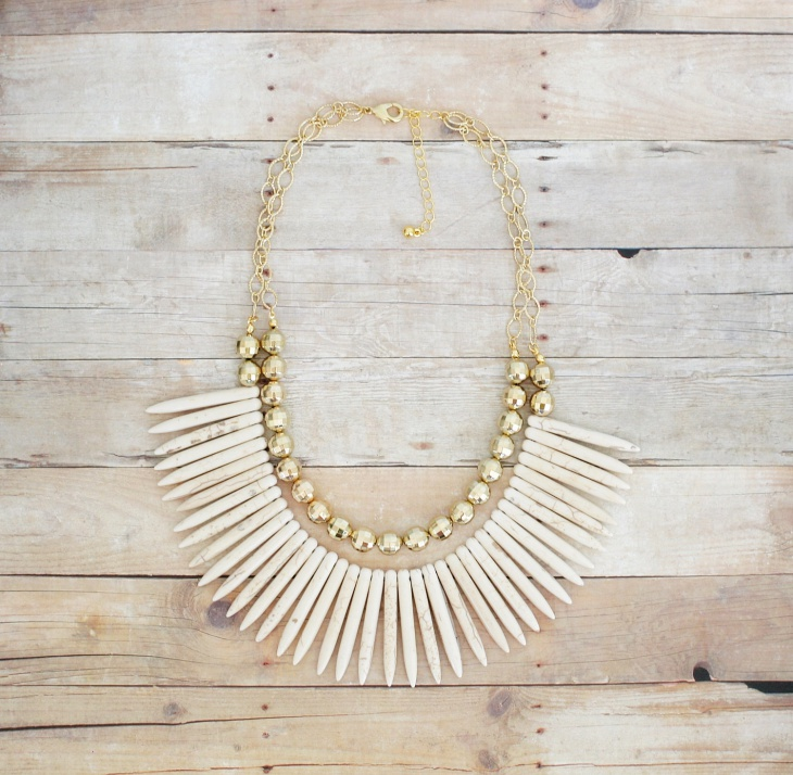 gold and ivory spike necklace