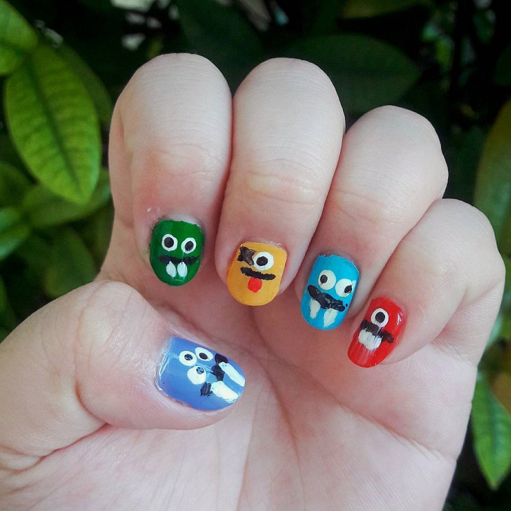colorful monster nail art