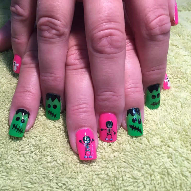 21 monster nail art designs ideas design trends premium psd frankenstein monster nail design prinsesfo Gallery