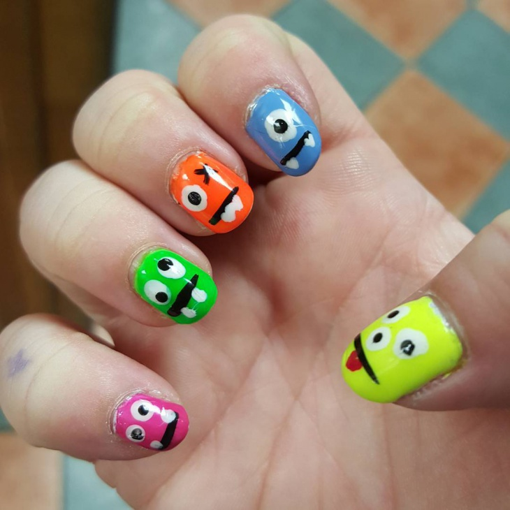funky monster nail art idea