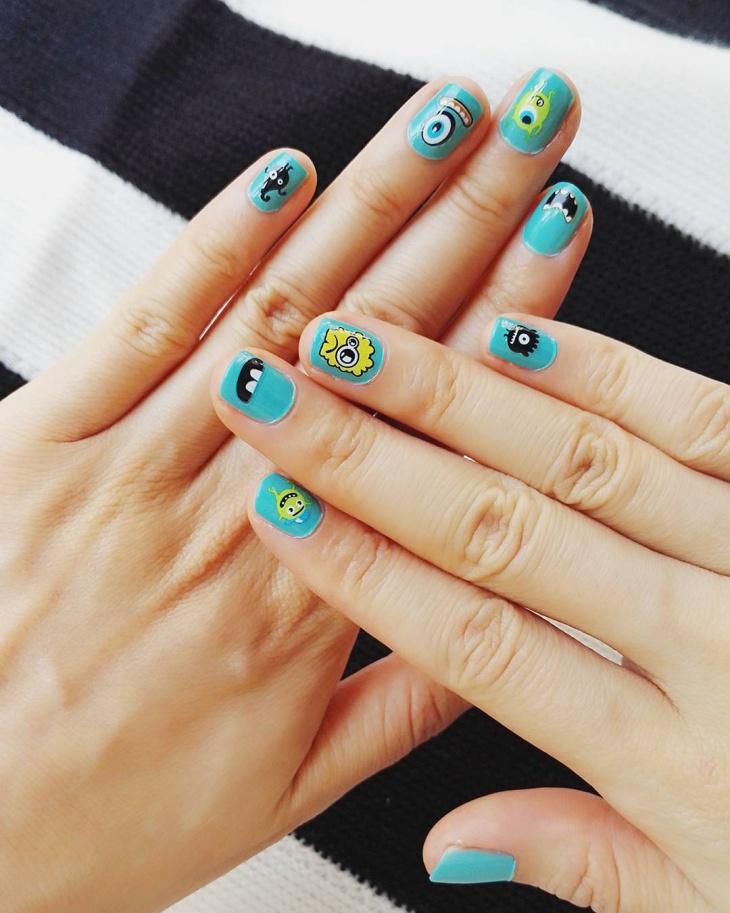 cute monster nail design