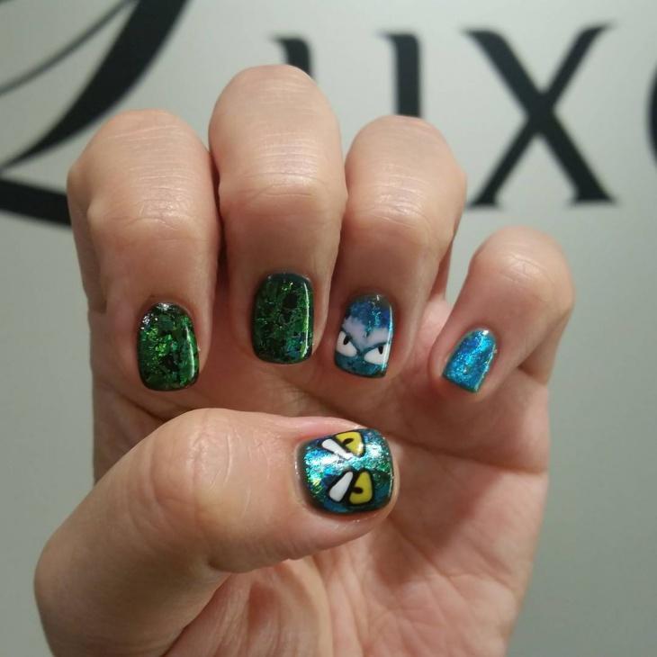 glitter monster nail art