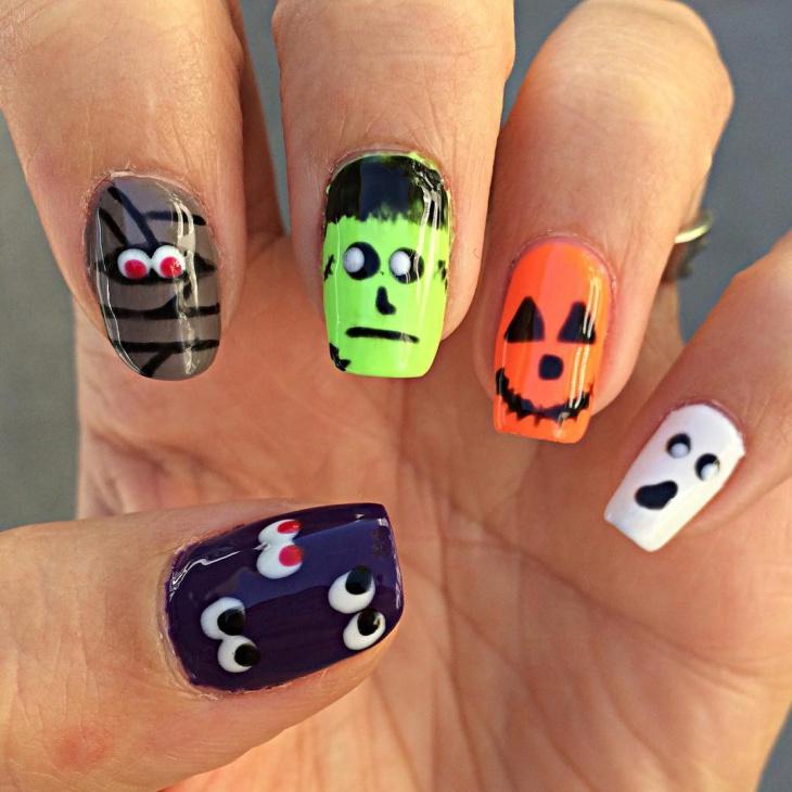 gel monster nail design