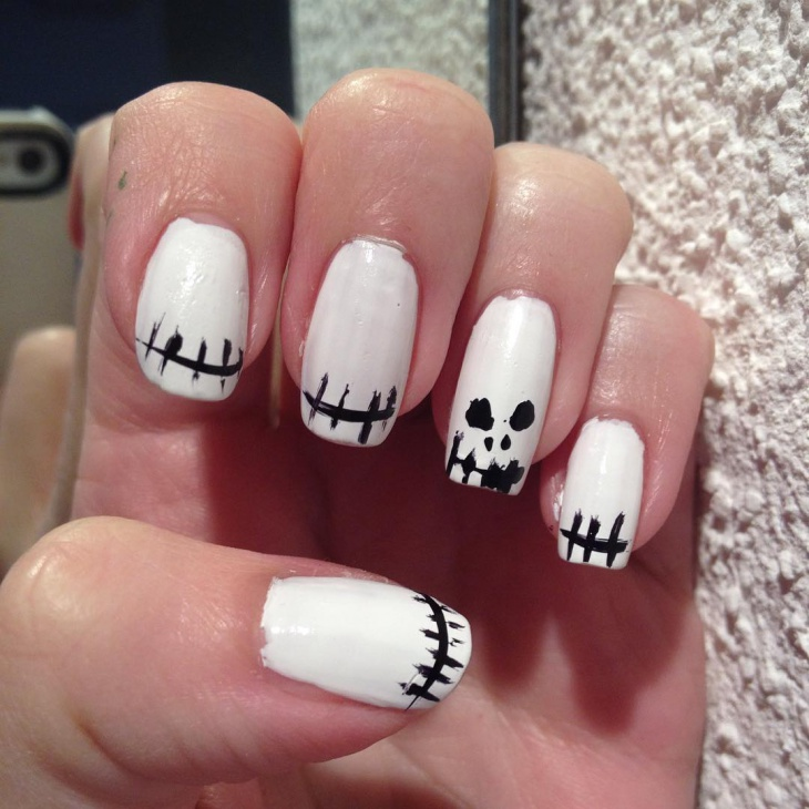 black and white monster nails